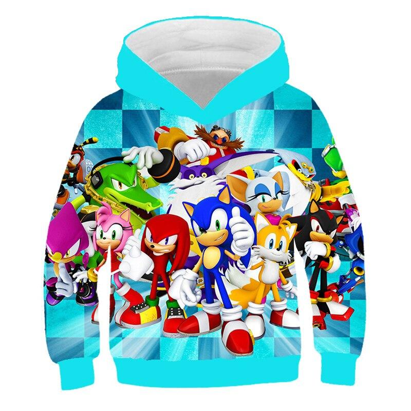 XINYOU 3D Sonic Hedgehog Summer 2021 Baby Bos Hoodies Kids Girls Cartoon Clothes Teens  Harajuku Pullover Coat Sweatshirt Tops 6
