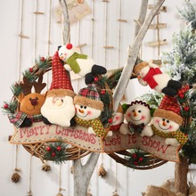 Rattan Christmas Wreath With 4 Plush Dolls Front Door Garland Holiday Hanging Pendant Ornaments For Party Wall Decor