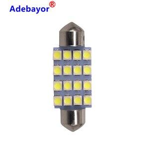 Image 5 - Dôme de voiture, 100X 39mm c10w 3528 16SMD LED, blanc bleu, ampoules pour lintérieur de voiture, plaque dimmatriculation LED