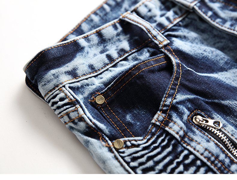 Biker Jeans Men Slim Fit Fake Zippers Pockets Stretch Europe and America Faded Snow Wash Pleated