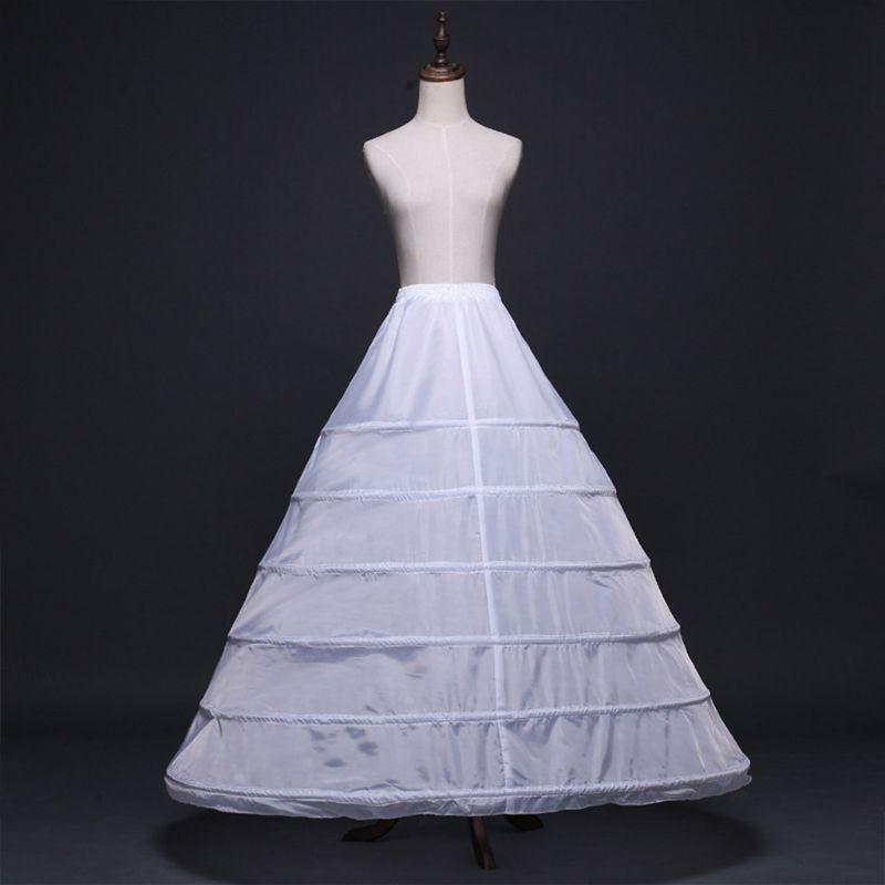 Womens Full Length White Crinoline Petticoat A-Line 6 Hoops Skirt Slips Long Underskirt for Wedding Bridal Dress Ball Gown