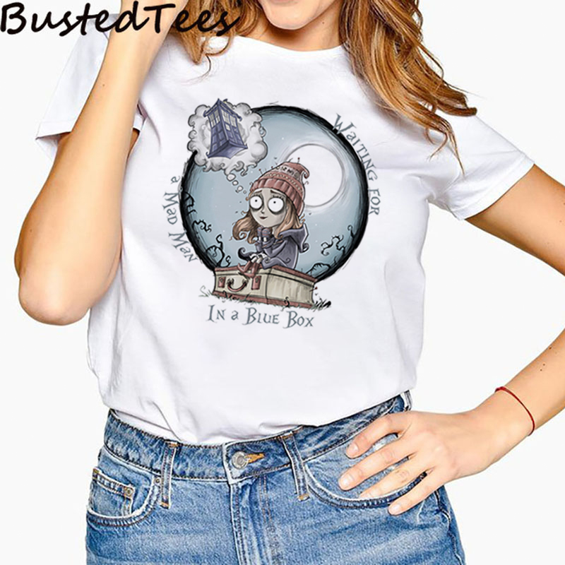 90S Harajuku Women Naughty Tim Burton Docter Who The Girl Waiting For A Mad Man In A Blue <font><b>Box</b></font> T-Shirts <font><b>Femme</b></font> Hip Pop Streetwear image