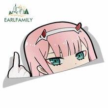EARLFAMILY de dibujos animados coche pegatina para Darling In The Franxx cero dos caca cabeza grande Anime vinilo ventana JDM maletero portátil etiqueta de la pared