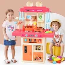 73CM New set of kitchen children toys kitchen big kitchen cooking color simulation play educational toy for baby girl