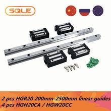 Guias lineares do armazém da ue 2 pces hgh20/hgr20 200-2500mm trilhos lineares + 4 pces hgh20ca/hgw20cc desliza carruagens com bocal