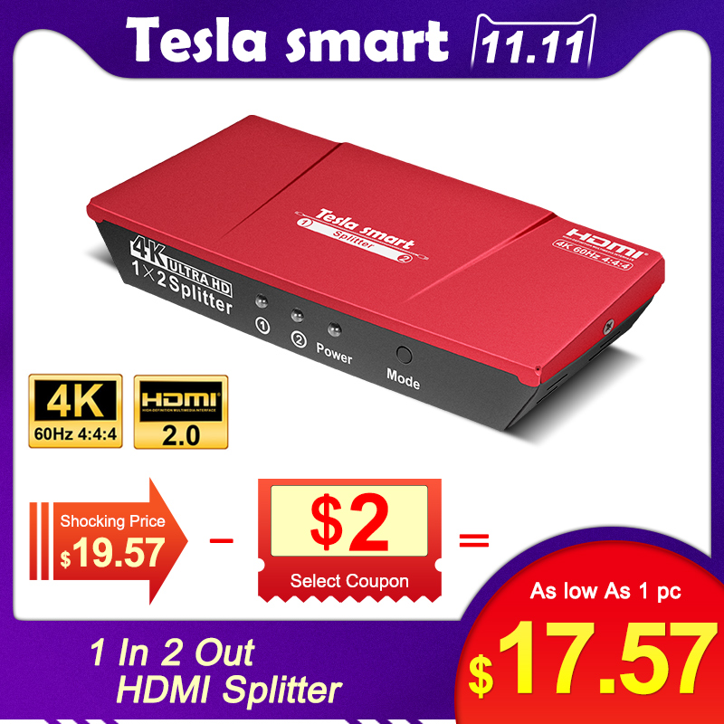 Tesla Smart HDMI Splitter 1x2  HDMI 2 Port Splitter 4K@60Hz 1080P   High Quality With Power Adapter HDMI HDTV DVD PS3 Xbox