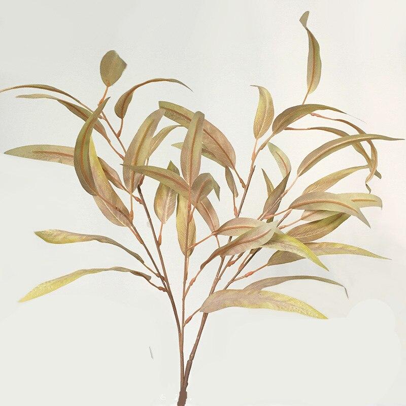 Ветка эвкалипта из листьев ивы, 80 см, Осенний цвет, цвет шампанского, красновато-коричневый, цветочные композиционные материалы