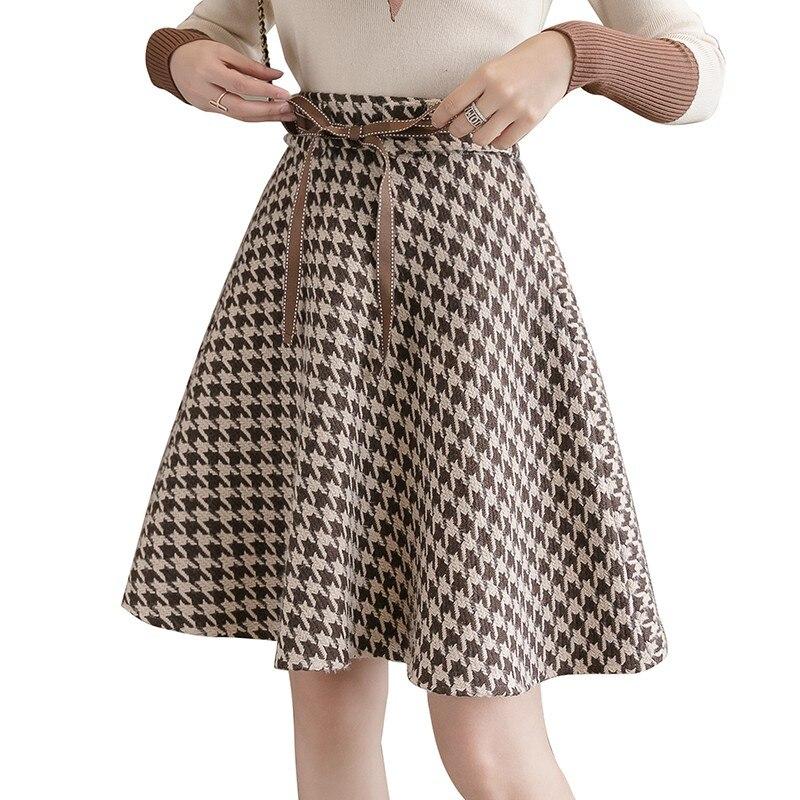 Autumn Winter Women Houndstooth Skirt Korean High Waist Plaid Wool Skirts Bow Tie Plus Size Mini Woolen Skirt Ball Gown Saias