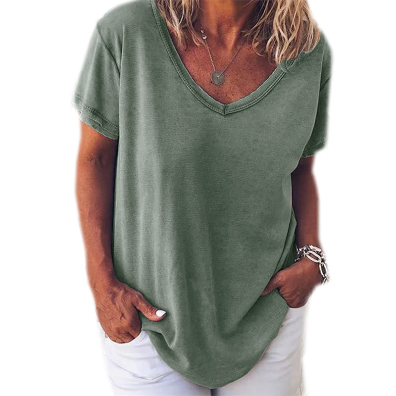 Fashion Loose Large Size T-shirt Short-sleeved V-neck Short-sleeved Women's Shirt Casual T-shirt Women