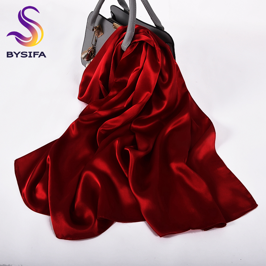 [BYSIFA]  Pure Silk Wine Red Silk Scarf Shawl Women Fashion Luxury Crepe Satin Silk Long Scarves Ladies Brand Head Scarf Cape