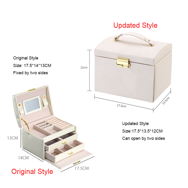 Image 5 - Casegrace New Jewelry Box Large Capacity Leather Storage Jewelry Box Earring Ring Necklace with Mirror Watch Jewelry Organizer-in Jewelry Packaging & Display from Jewelry & Accessories