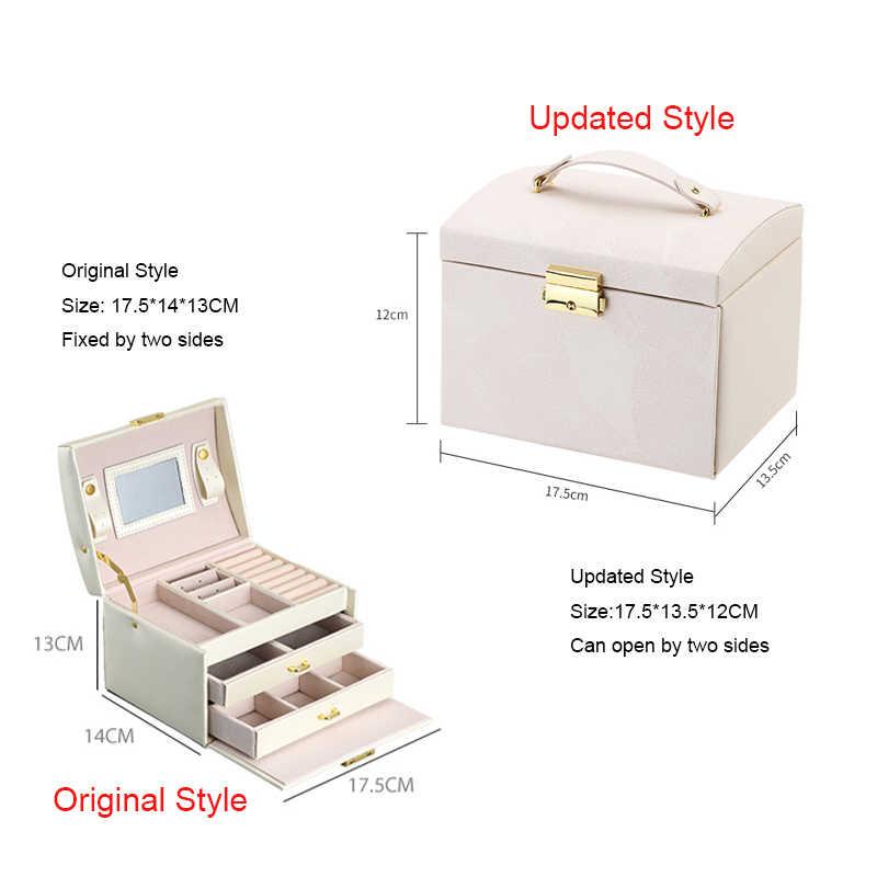 Casegrace חדש תכשיטי תיבת גדול קיבולת עור אחסון תכשיטי תיבת עגיל טבעת שרשרת עם מראה שעון תכשיטי ארגונית