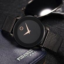 MISSFOX 40MM מינימליסטי שעון נשים 5.8mm Ultra דק מקרה פלדת רשת Dw שעון קלאסי עמיד למים זהב אנלוגי גבירותיי קוורץ שעון