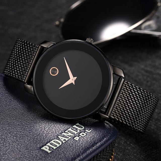 MISSFOX 40mm 미니멀리스트 시계 여성 5.8mm 울트라 얇은 케이스 스틸 메쉬 dw 시계 클래식 방수 골드 아날로그 여성용 쿼츠 시계