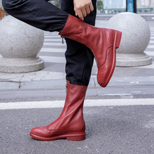 Plus Size 34-43 New Women Zip Autumn Winter Ankle Boots Ladies Classic Comfort Flats Female Fashion Genuine Leather Martin Boots autumn and winter new martin boots bohemia hand painted tassel genuine leather handmade women ankle boots plus size 40 42