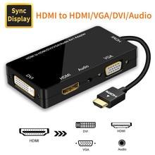 Adaptateur HDMI HDMI vers VGA DVI HDMI affichage synchrone 1080P 4 en 1 convertisseur Audio vidéo HDMI