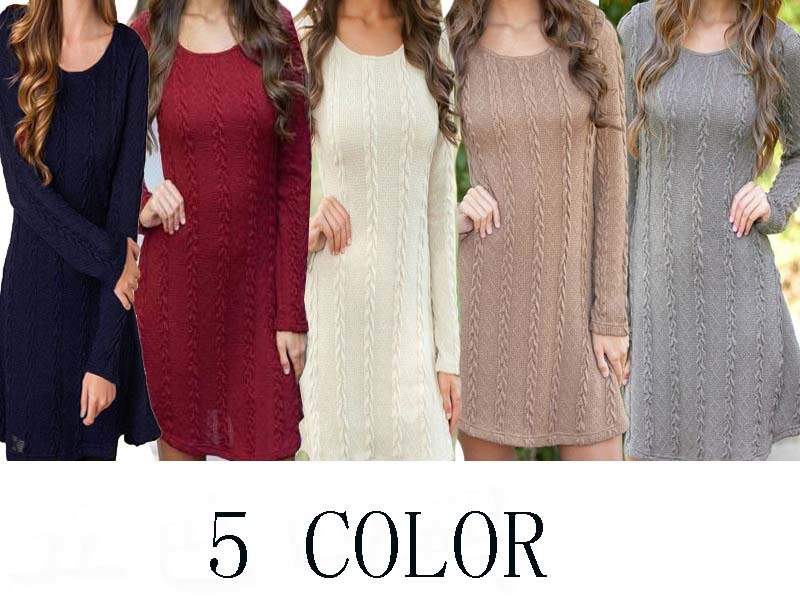New Women Winter Sweater Dresses Slim Gray O-neck Long Knitted Black Dresses For Women Plus Size 2xl Hot SaleLX533