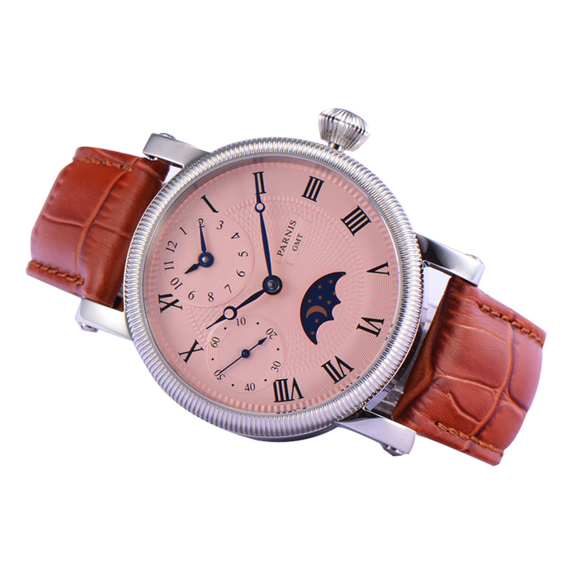 Casual Parnis 43MM Dial Mechanical Hand Wind Men's Watch Moon Phase Mens Hand Winding Watches Waterproof 2020 Top Luxury Brand