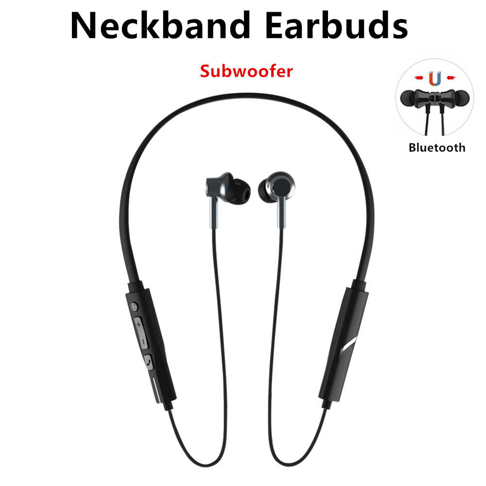 Neckband Bluetooth Earphone dengan Mic Auriculares Sport Earbud Subwoofer Nirkabel Headphone Kulaklık Ecouteur Sans Fil Fones