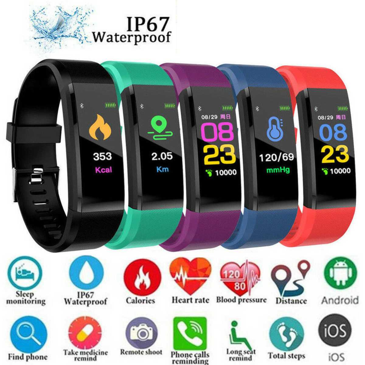 Smart Watch Men Women Heart Rate Monitor Blood Pressure Fitness 0.96 inch <font><b>Smartwatch</b></font> Sport Watch for ios android image