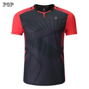 Nowa koszulka do badmintona sportowa koszulka do gry w tenisa sport kobiety MenTable koszulka do gry w tenisa s odzież tenisowa Qucik sucha koszulka do ćwiczeń tanie i dobre opinie TANANSTY Poliester Krótki Przeciwzmarszczkowy Oddychająca Sprężone Szybkie suche Koszule Pasuje prawda na wymiar weź swój normalny rozmiar