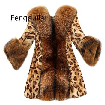 Women Leopard Coat Faux Fur Imitation Raccoon Fur Collar Medium Long Coat Teddy Jacket Veste Fourrure Femme Manteau Fourrure фото