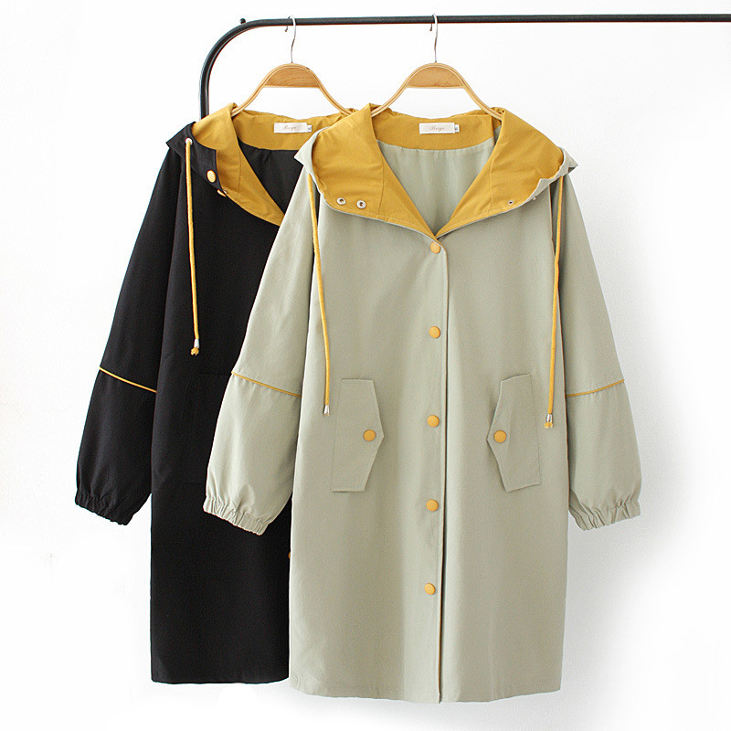 2020 Oversize hooded trench coat women spring autumn long outerwear fashion female loose casual tops windbreaker plus size G907
