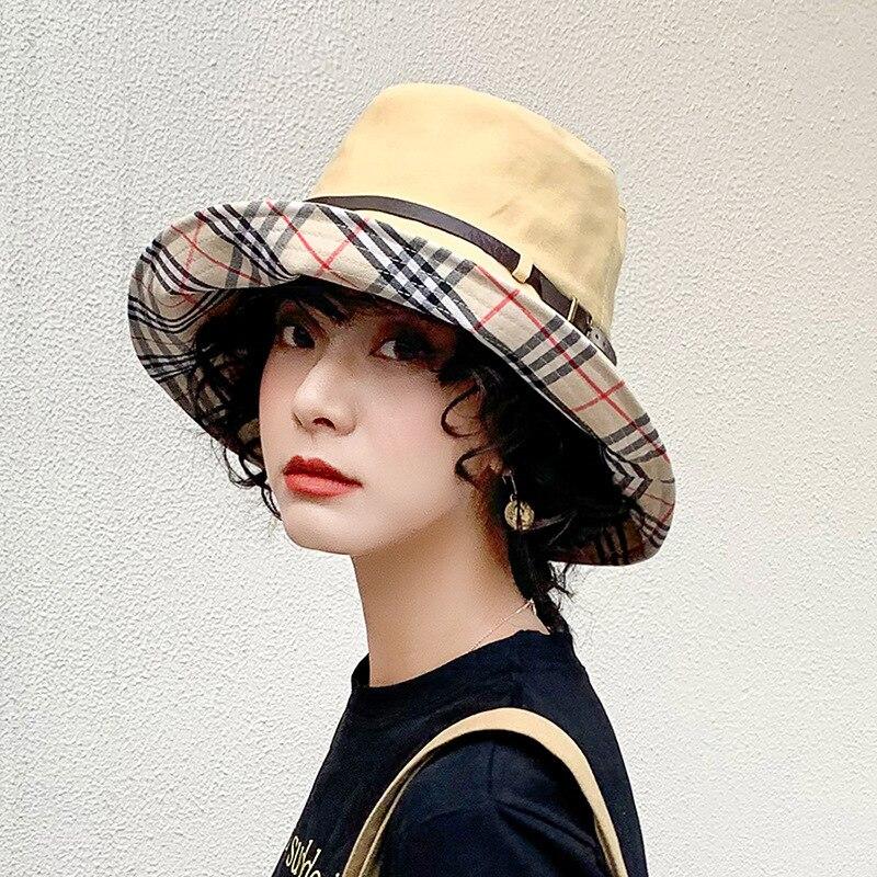 2020 Solid Color Belt Fashion Bucket Hats Women Outdoor Fishing Protection Cap Men Hip Hop Panama
