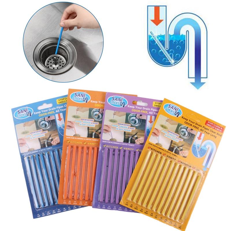 12 unids/set palos Sani de aguas residuales de descontaminación a desodorante la cocina baño, bañera desagüe de limpieza de alcantarillado de pelo claro