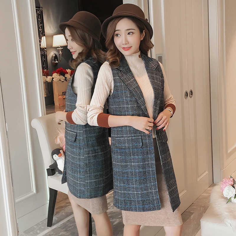 Plus Größe 3XL Lange plaid frauen büro blazer Mantel Herbst zweireiher blazer plaid dünne weibliche oberbekleidung Jacke eine taste