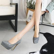Туфли на платформе и высоком каблуке 12 см; Женские туфли золотистого