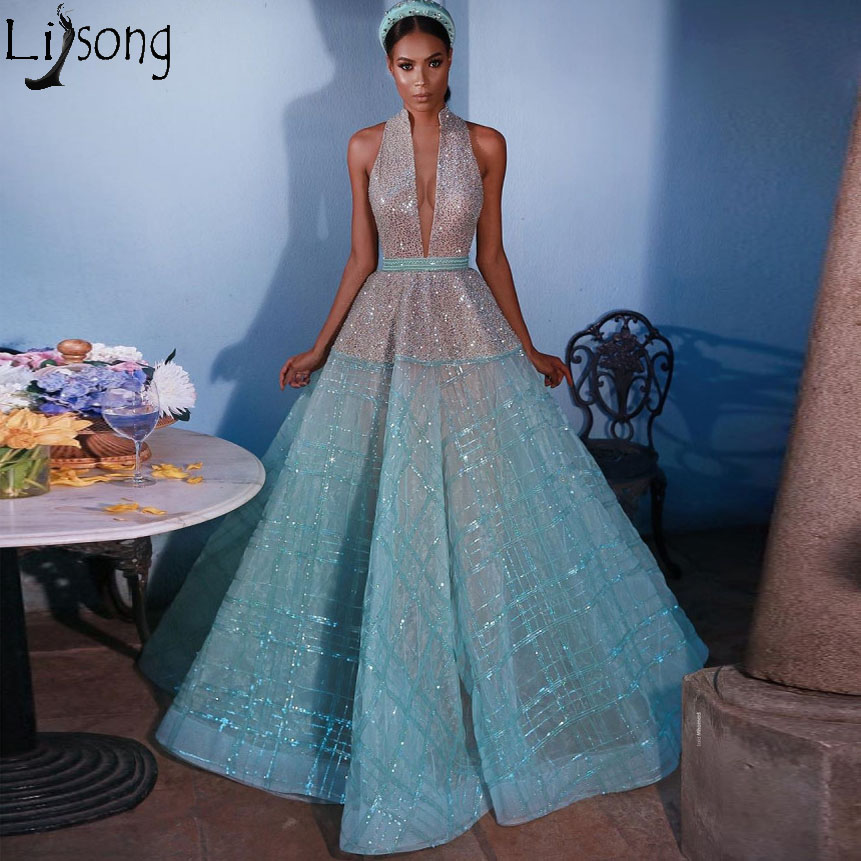 New Design Sky Blue Organza Prom Dresses 2019 Deep V Neck Halter Sequins Lace Chic Evening Dress Saudi Arabic Formal Party Gown