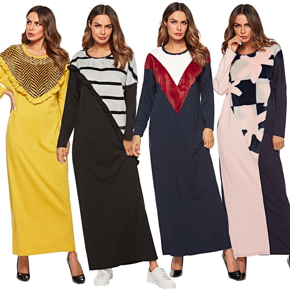 BNSQ Middle Eastern Abaya Dress Knit Stitching Fake Plush Long Sleeve Maxi Casual Aftan Pakistani Dresses Autumn M-4XL