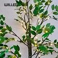 Simulação de plantas verdes led pássaros, árvore com folha, luz noturna, decorações para casa, iluminação usb, festival, fadas, feriados, internos
