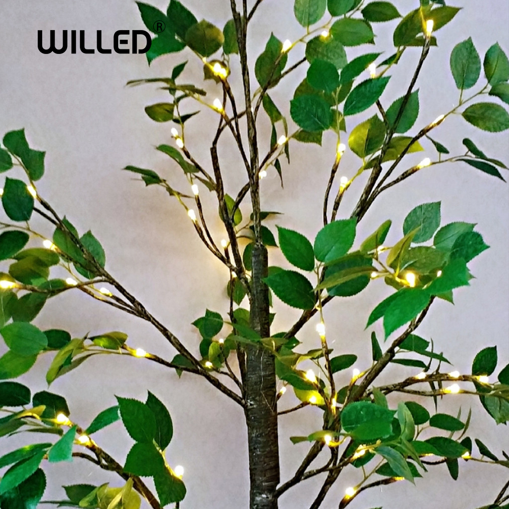 Simulation Green Plant LED Birch Tree With Leaf Lamp Night Light Decorations For Home Usb Lighting Festival Indoor Holiday Fairy