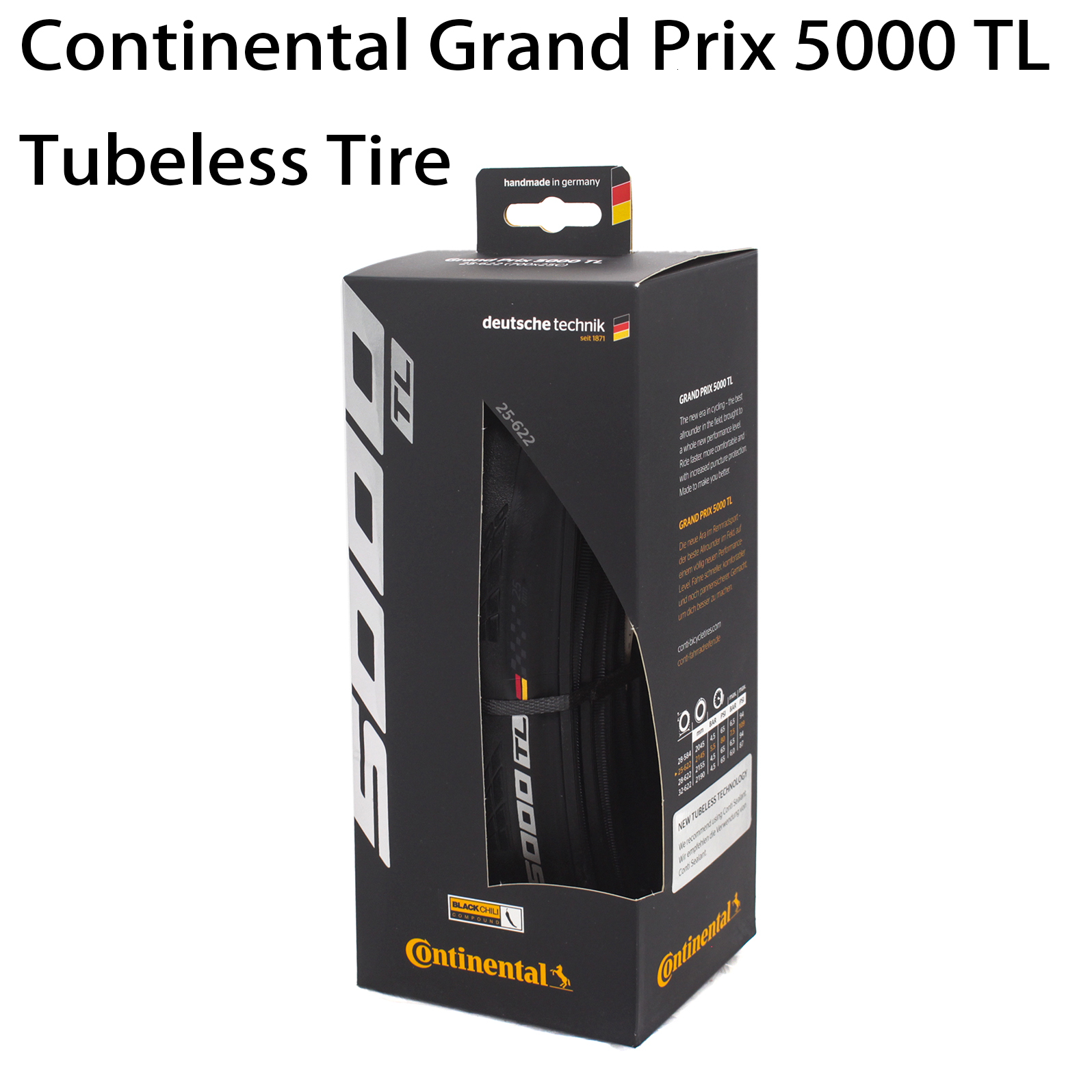 Continental Grand Prix 5000 TL 700c pneu Tubeless, simple/700x25C