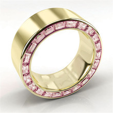 Classic Pink Crystal Engagement Ring Gold Wedding Fashion Cocktail Party Men's Women's Rings Anniversary Jewelry