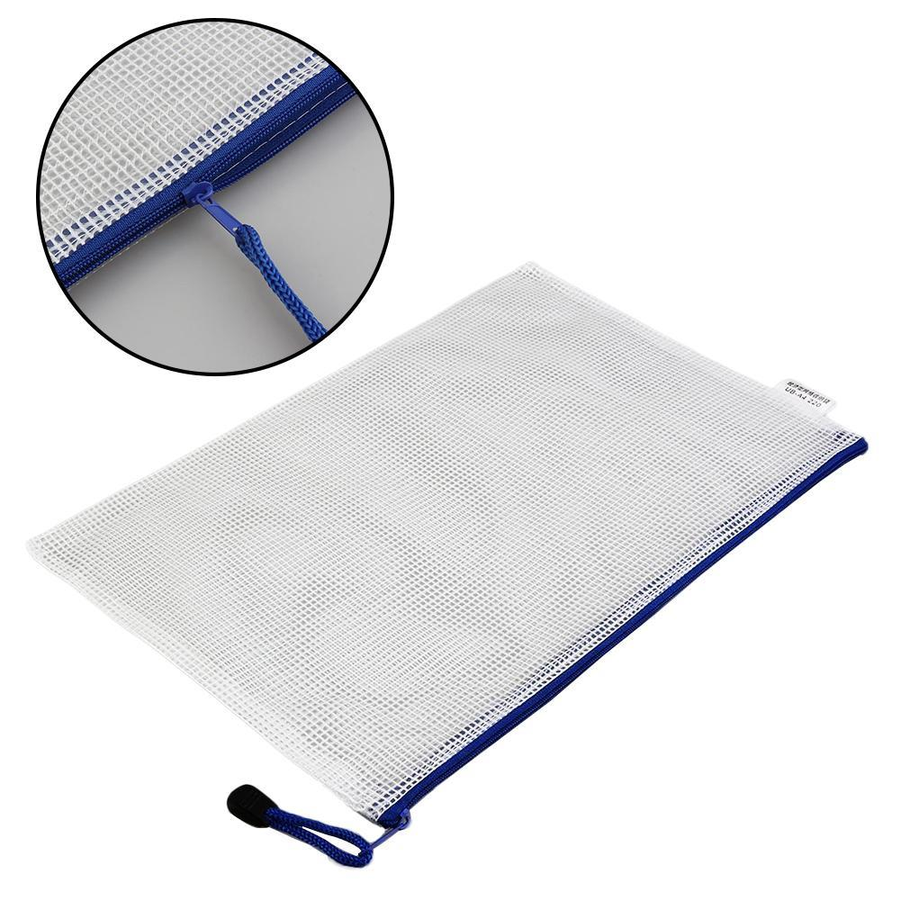 Portable A4 5/10 Pcs/Pack Pen File Clear Grid Lines Folder Waterproof Zip Bag LN