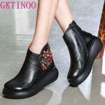 GKTINOO New Autumn Women's Genuine Leather Platform Shoes Wedges Lady High Heel Woman Pumps Handmade Flower - discount item  50% OFF Women's Shoes