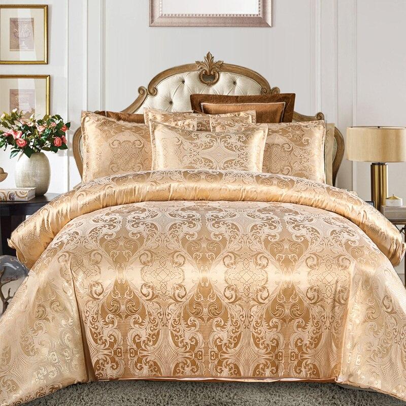 Lüks ipeksi jakarlı kumaş yorgan örtüsü yastık Shams seti tek, çift tam kraliçe kral yorgan yatak setleri