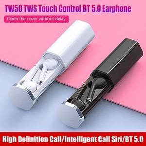 Image 1 - TW50 auriculares TWS, inalámbricos por bluetooth 5,0, auriculares estéreo rosas táctiles de llamada Bilateral con caja de carga