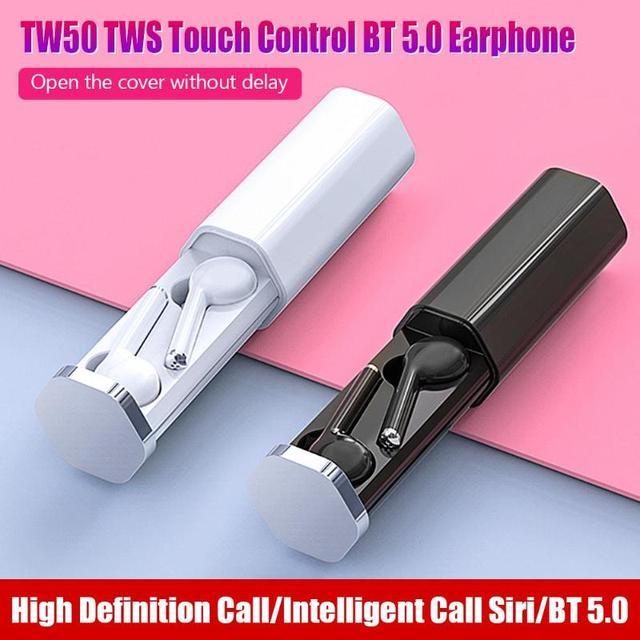 TW50 auriculares TWS, inalámbricos por bluetooth 5,0, auriculares estéreo rosas táctiles de llamada Bilateral con caja de carga