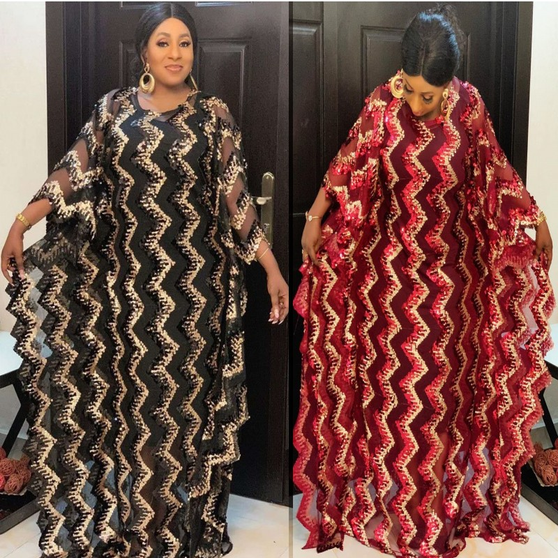 Super Size New Fashion African Women's Sequins Dashiki Loose Embroidery Long Dress African Dress For Women African Clothes