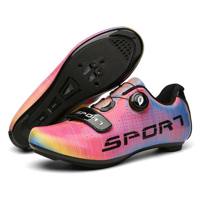 Sapatos de ciclismo de estrada colorido cor reflexiva mudando profissional mountain bike respirável bicicleta corrida auto-bloqueio sapatos 4