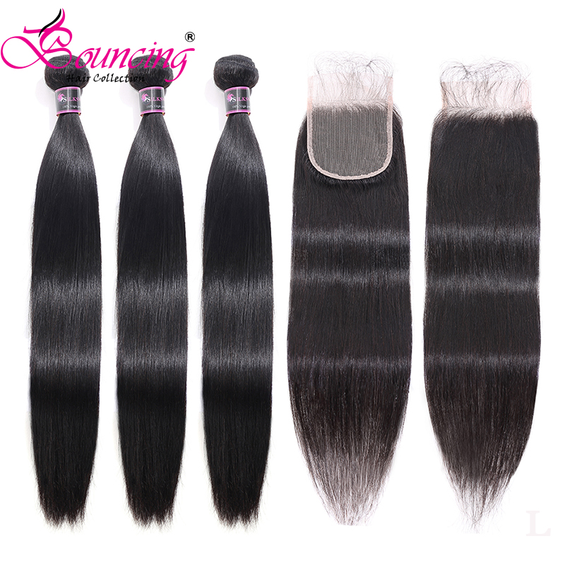 Straight Bundles With Closure Brazilian Remy Human Hair Weave Match Closure Natural Black Hair Weft And 4x4 Lace Closure