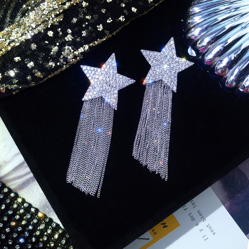 H537c2d8c1ba54b23868ea5e57ea2b1e8Q - New Arrival Zinc Alloy Trendy Women Dangle Earrings Star-studded Fringed Earrings Long-style Female Jewelry