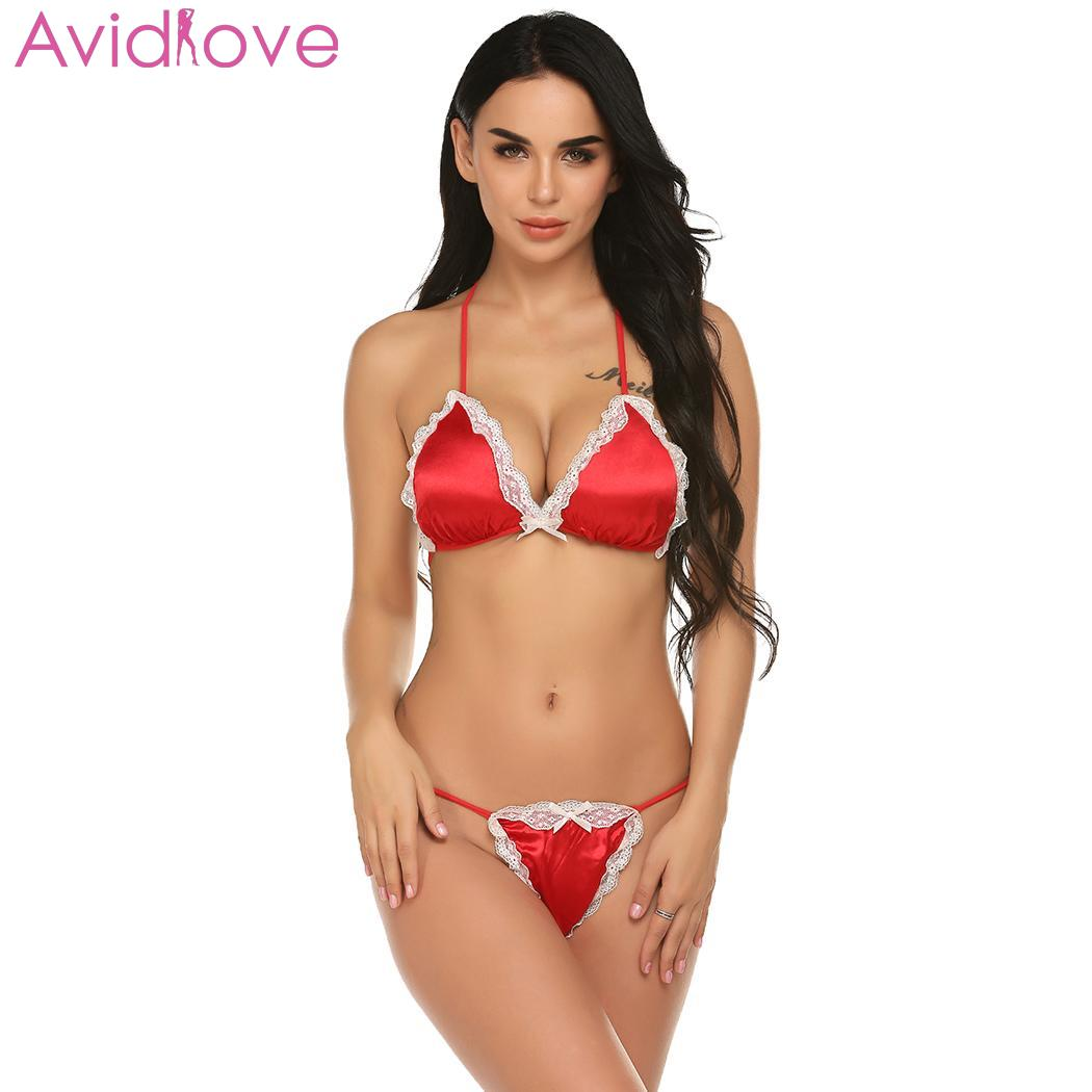 Women Sexy Lingerie G-string Pajamas Set Erotic Underwear Bra Sets Backless Bow Lace Patchwork Halter Bralette Thong Three Point