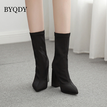 BYQDY Autumn Elastic Sock Ankle Boots Square High Heels Mesh Women Winter Booties Pointed Toe Boots botas mujer Plus Size 42 sianie tianie 2018 female sexy stiletto sock booties stretch fabric pointed toe high heels ankle boots women pumps botas mujer