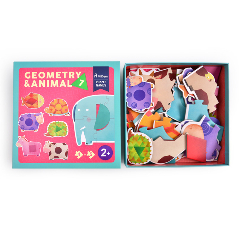 MiDeer Mi Deer CHILDREN'S Animal Geometry Large Pieces Puzzle Board Shape Cognitive Educational Toy Md3022