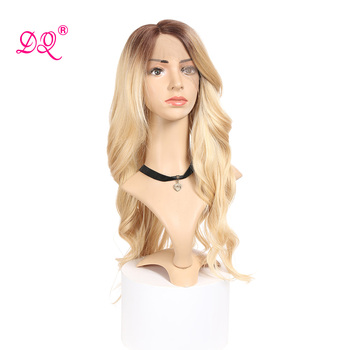 DQ Synthetic Lace Front Wig  Ombre Blonde Light Gray Wig Long Wavy Wigs for Woman Deep Wave  22 Inches Wig Heat Resistant Fiber 26 inch natural long wave synthetic wig front lace fluffy wavy wig heat safe wigs black gray